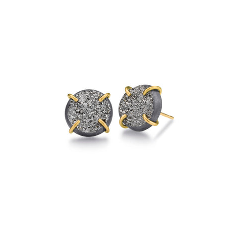 MJM Gray Druzy Gold Stud Earring