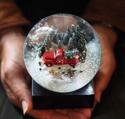 Red Truck with Dogs Keepsake Snow Globe