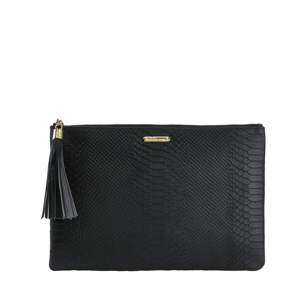 Gigi NY Python Leather Zip All-In-One Clutch