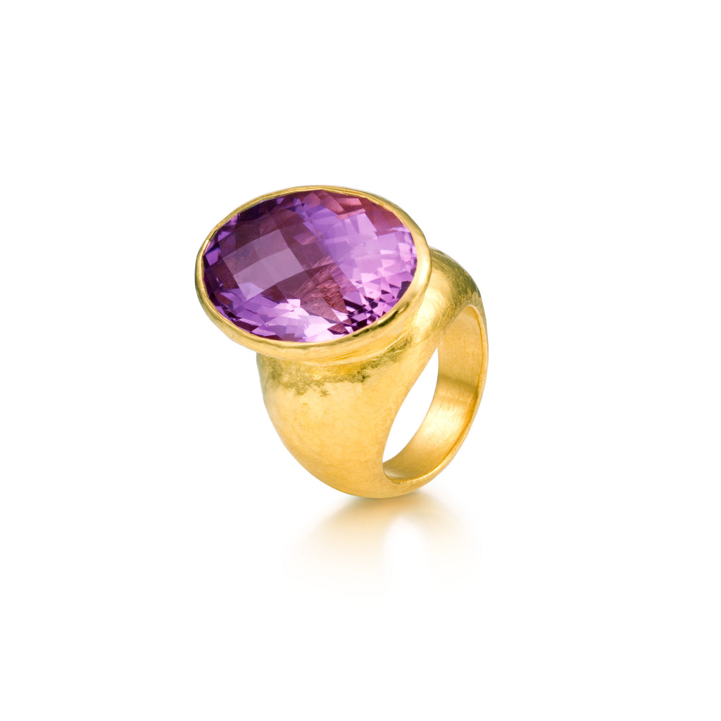 Oval faceted Amethyst designer ring