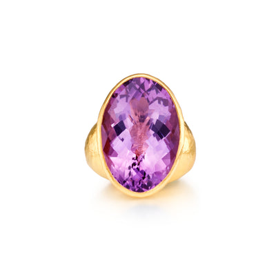 Oval Amethyst Cocktail Ring in 24k Yellow Gold