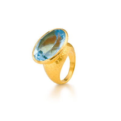 Oval Blue Topaz Designer Cocktail Ring