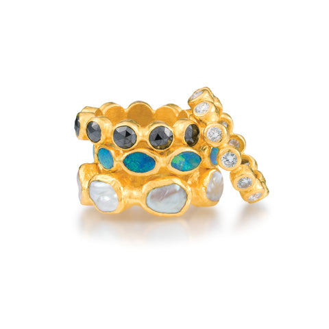 ARA 24k Yellow Gold Stacking Rings with Black Diamond, Opal, Pearl, or Diamond
