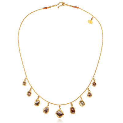 24k Yellow Gold Raw Diamond Collar Style Necklace