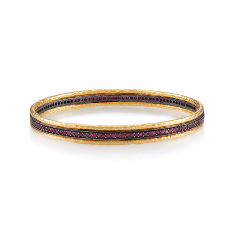 ARA 24k Yellow Gold Oxidized Ruby Bangle Bracelet