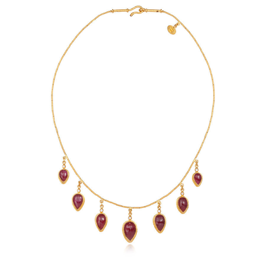 ARA 24k Yellow Gold Ruby Station Necklace with Diamond Accents