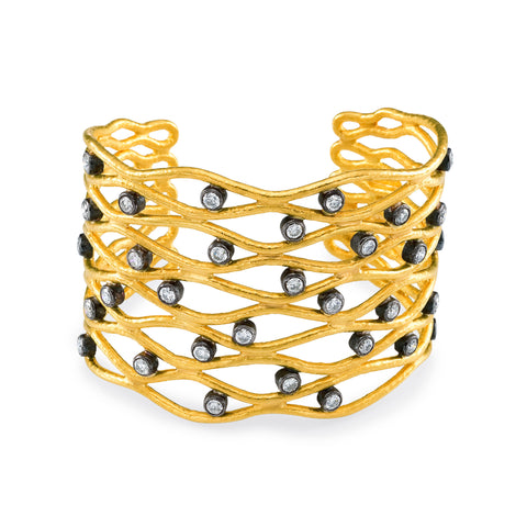 ARA 24k Yellow Gold Diamond Wave Cuff