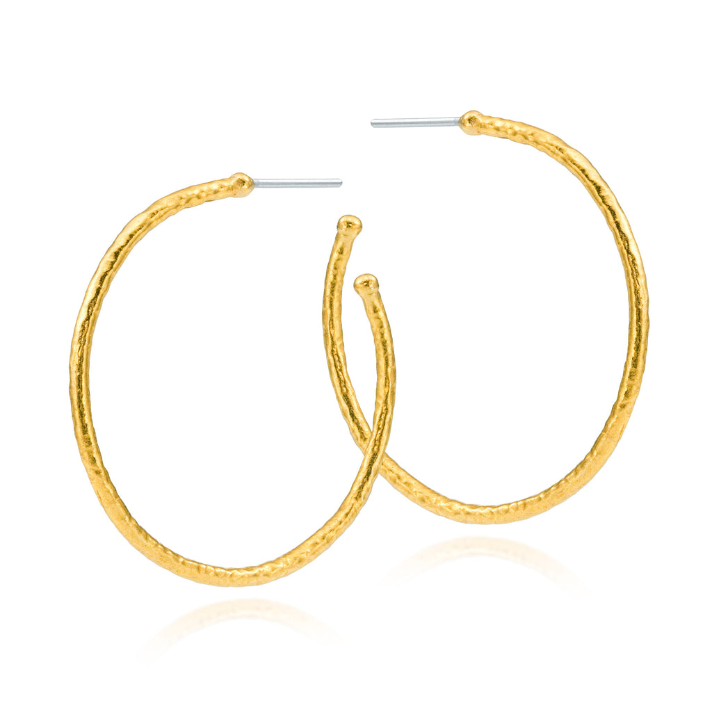 ARA 24k Yellow Gold Hammered Hoop Earring