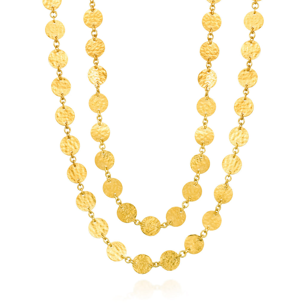 ARA 24k Yellow Gold Long Hammered Disk Necklace