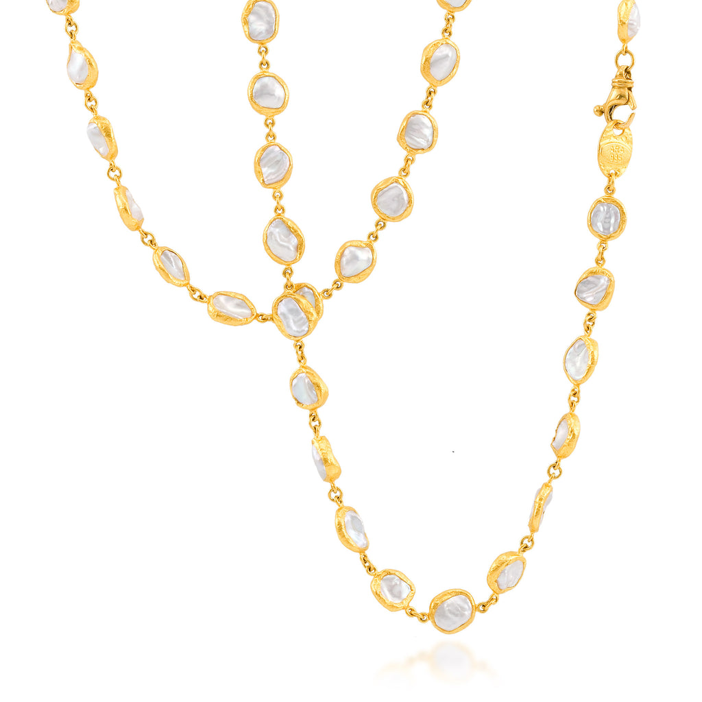 ARA 24k Yellow Gold Long Pearl Nugget Necklace