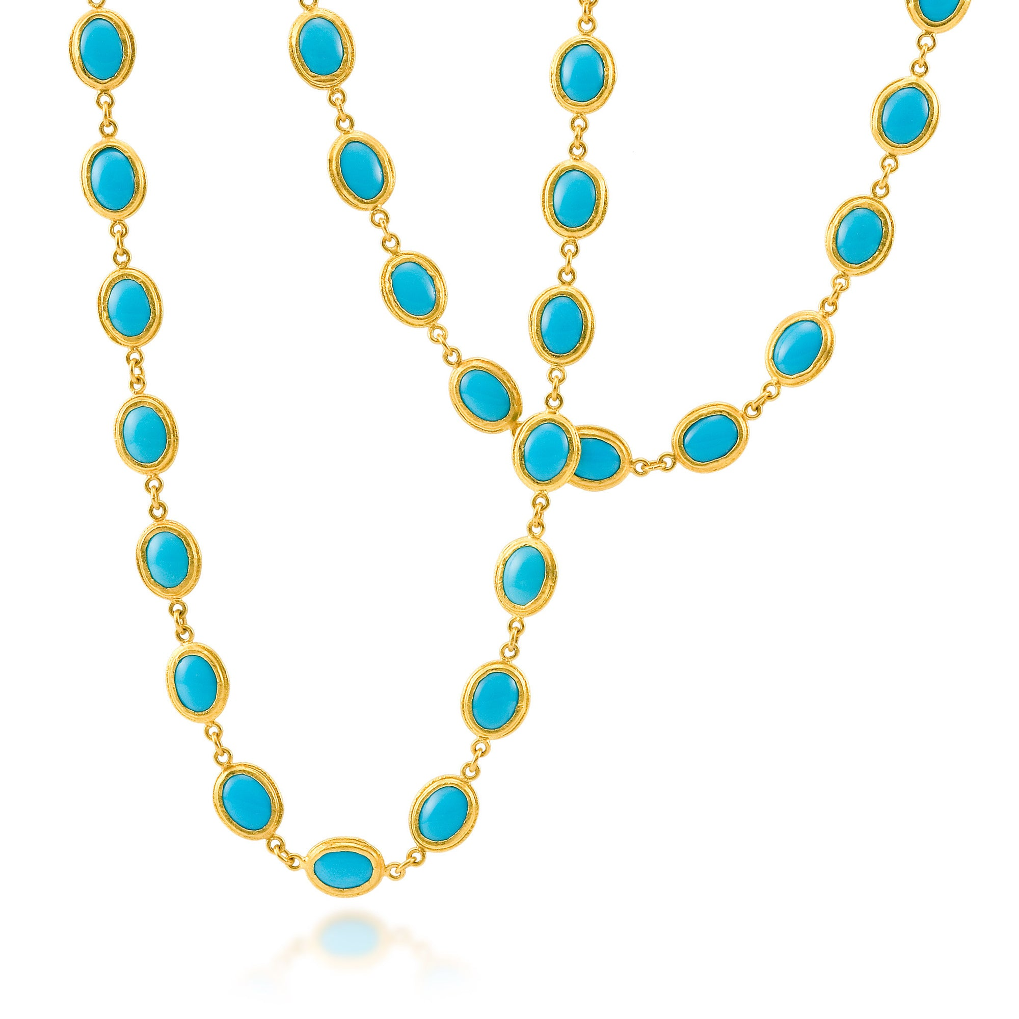 Fabulous ARA 24k Yellow Gold Long Turquoise Necklace - Desires by Mikolay KW43