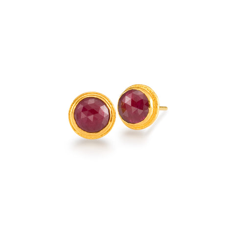 Round Ruby Stud Earrings in 24k Yellow Gold