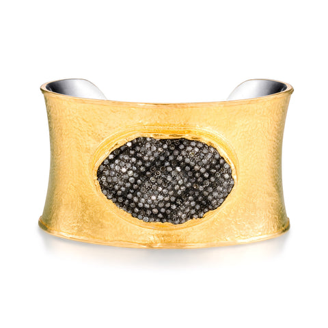 ARA 24k Yellow Gold Pave Diamond Wavy Disk Cuff