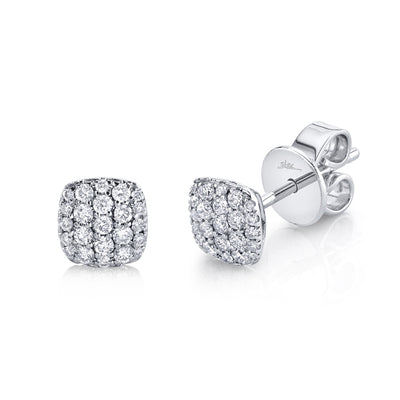 Pave Diamond 'Bella' Stud Earring in Yellow or White Gold