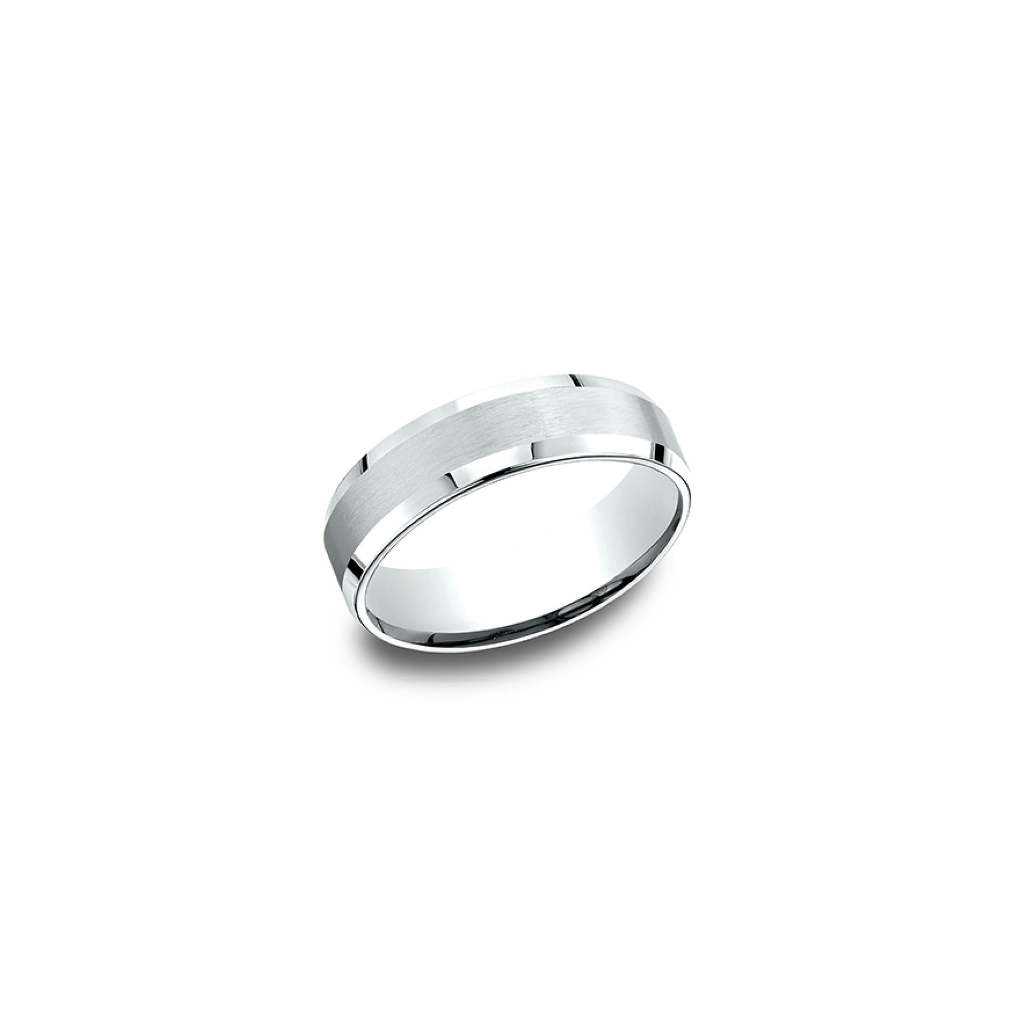 Beveled Edge White Gold Mens Wedding Band Desires by Mikolay