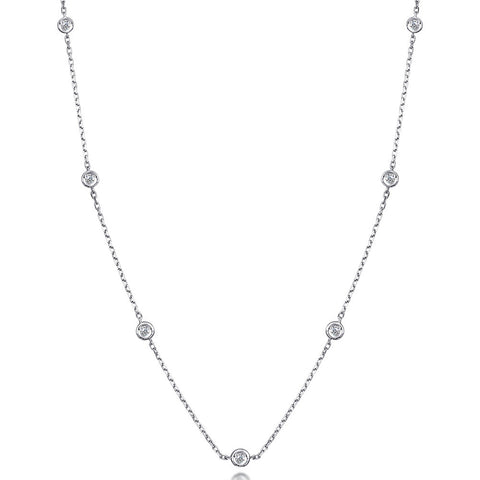 Diamond by the Yard Necklace 7 Station Sterling Silver