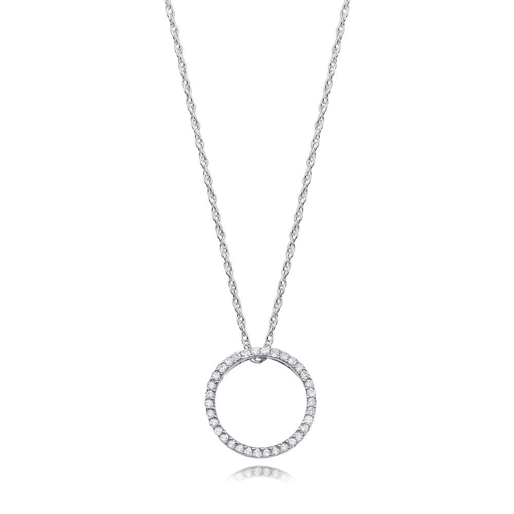 Bling diamond open circle pendant necklace in white or yellow gold diamond open circle round pendant necklace in white or yellow gold mozeypictures Image collections