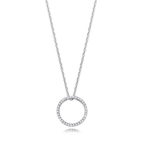 Bling! Diamond Open Circle Round Pendant Necklace in White or Yellow Gold