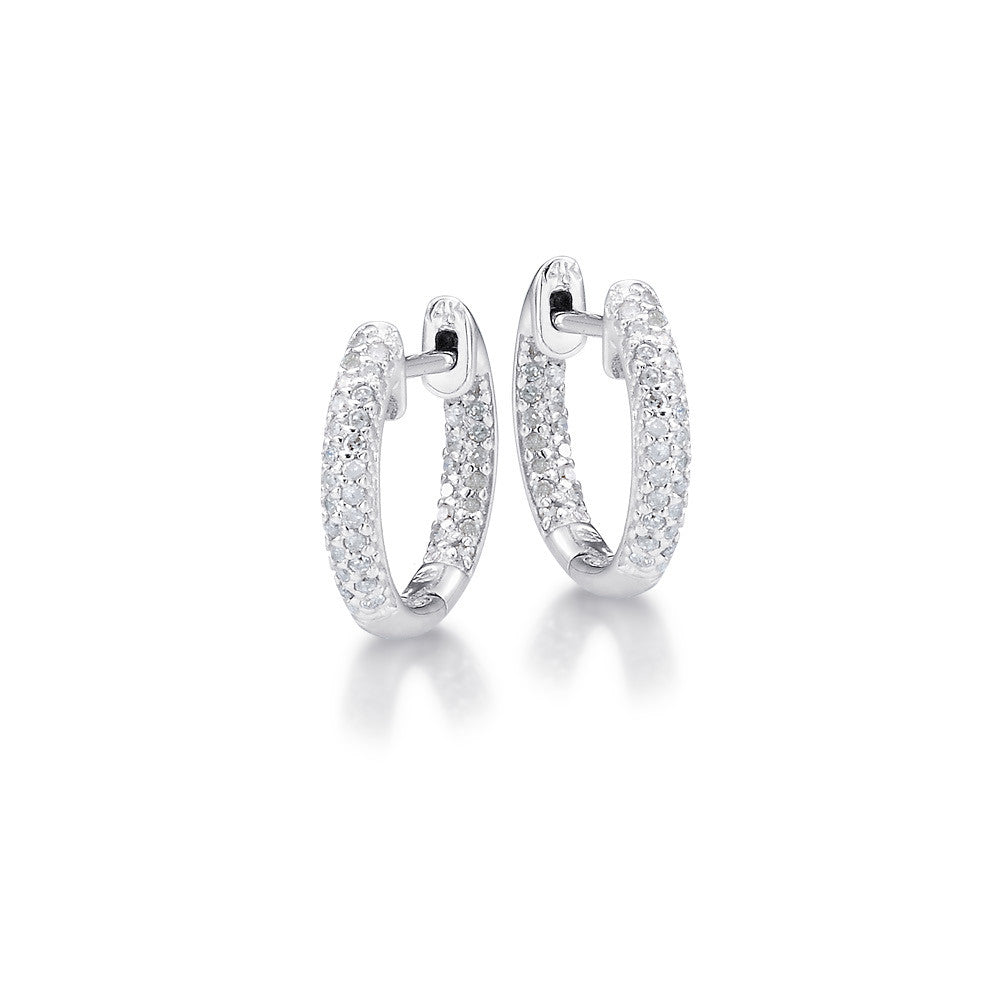 "Bling! Small Pave Diamond Huggy Hoop 1/2"" Diameter Earring in White Gold"