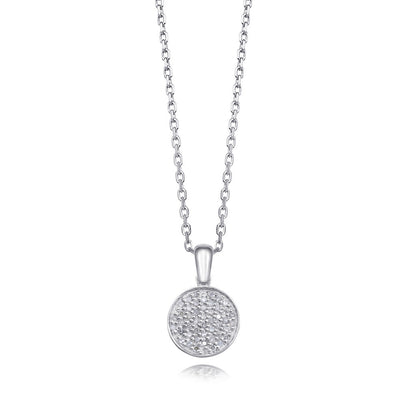 Pave diamond pendant necklace in sterling silver with hidden heart
