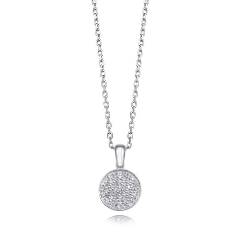 Bling! Pave Diamond Pendant Necklace with Hidden Heart in Sterling Silver