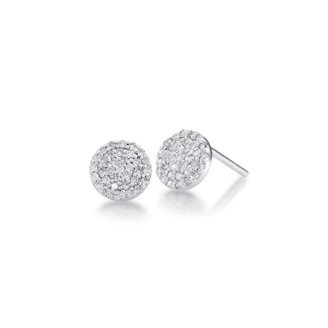 Bling Pave Diamond Stud Earring in White Gold
