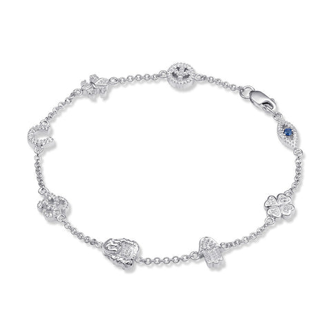 Bling! Spiritual Diamond Icon Bracelet in Sterling Silver