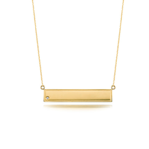 Bling Plain Bar Necklace - Yellow Gold