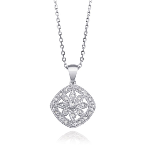Bling! Diamond Cushion Shaped Filigree Pendant Necklace in Sterling Silver
