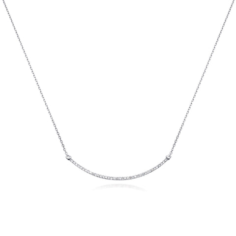 Bling! Diamond Curved Bar Necklace in White Gold