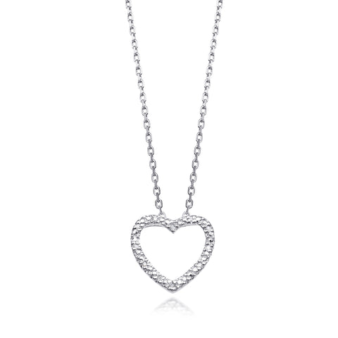 Bling! Diamond Open Heart Necklace in Sterling Silver