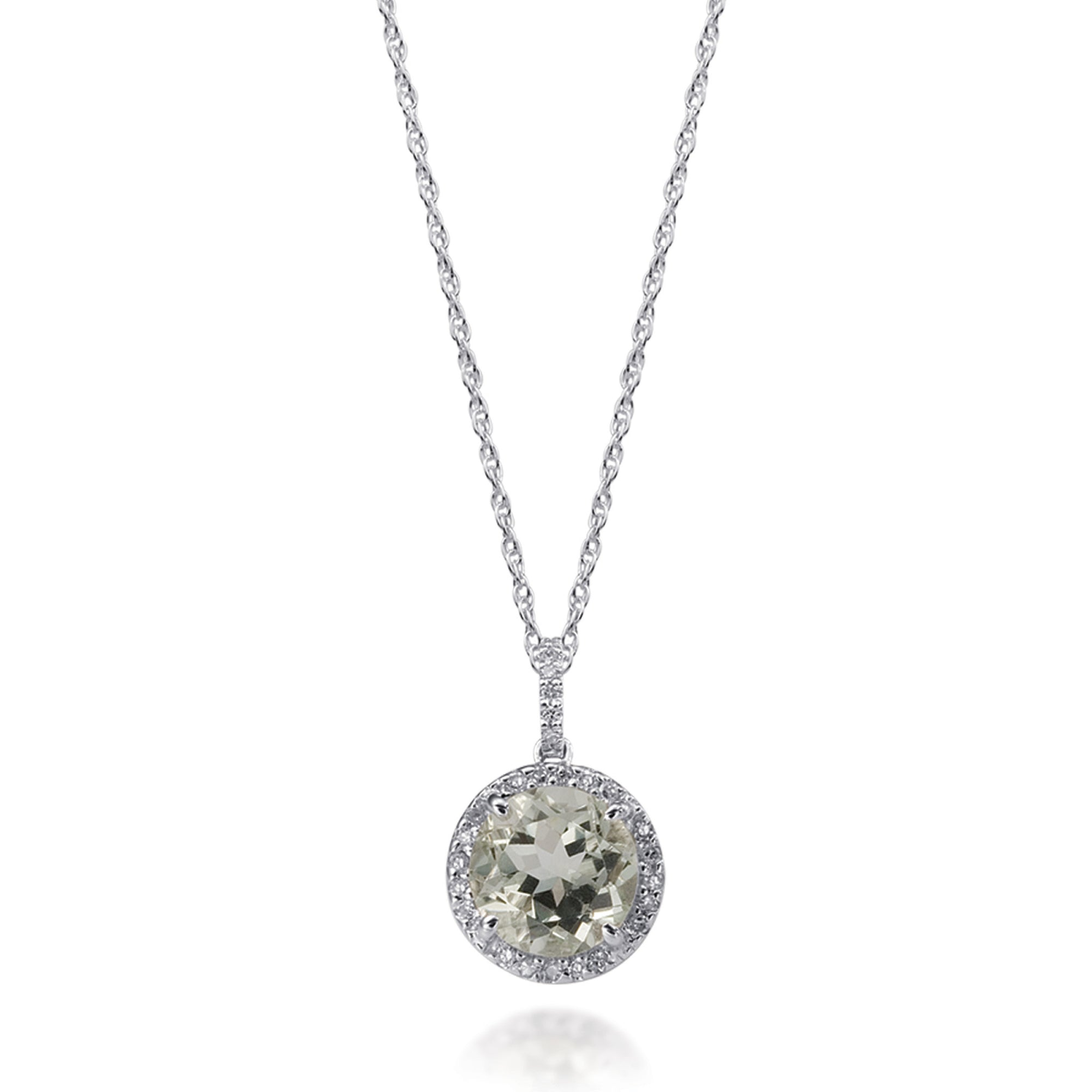 Bling Gemstone And Diamond Round Pendant Necklace In White Gold Desires By Mikolay