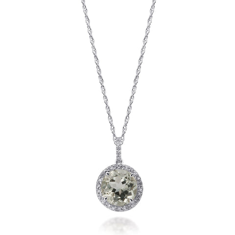 Bling! Gemstone and Diamond Round Pendant Necklace in White Gold