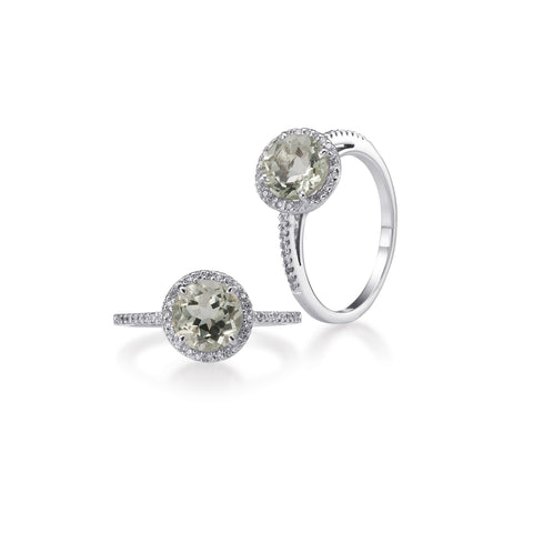 Bling! Gemstone and Diamond Round Ring in White Gold