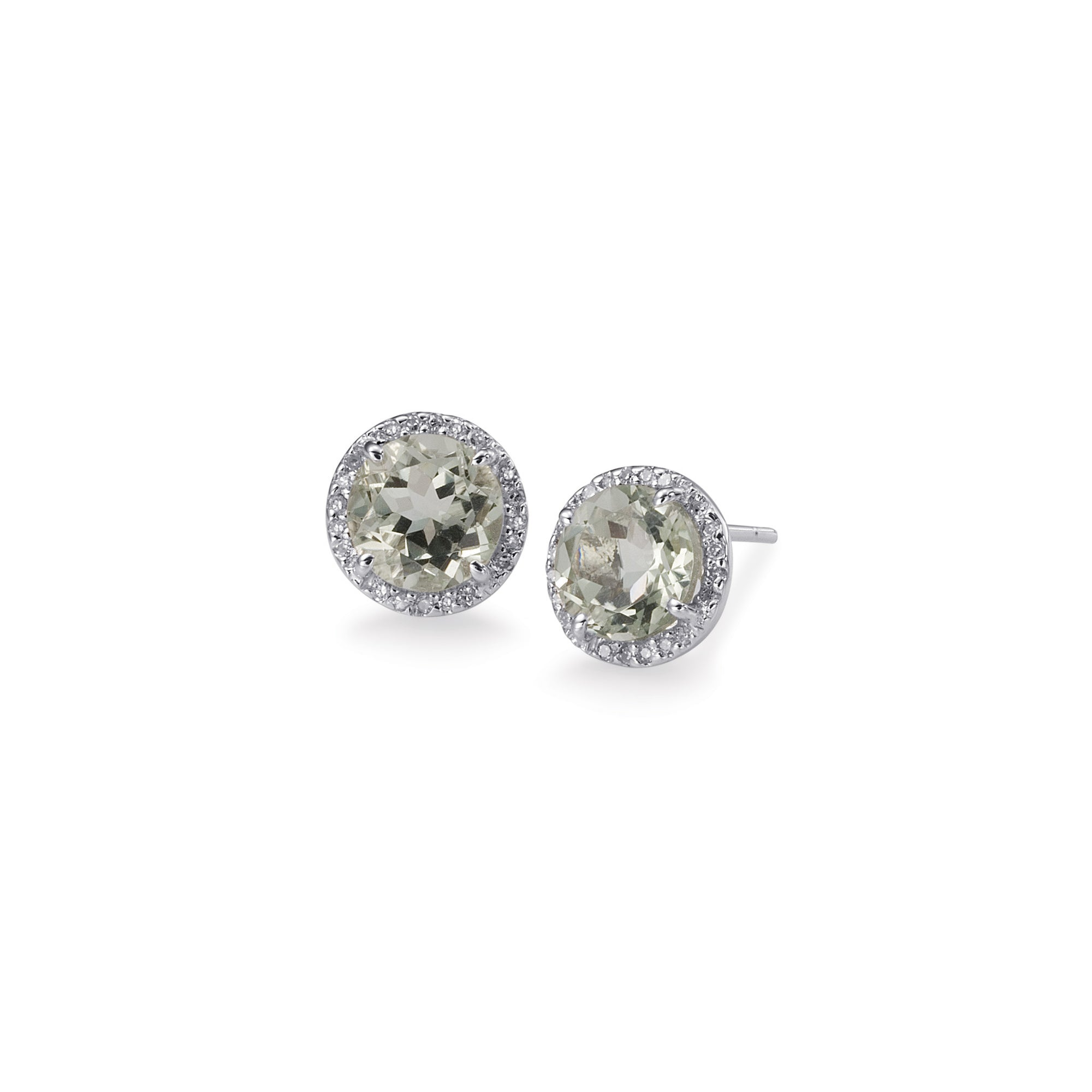 c09755caa Bling! Colored Gemstone and Diamond Round Stud Earring in White Gold ...