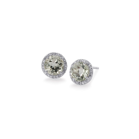 Bling! Gemstone and Diamond Round Stud Earring in White Gold
