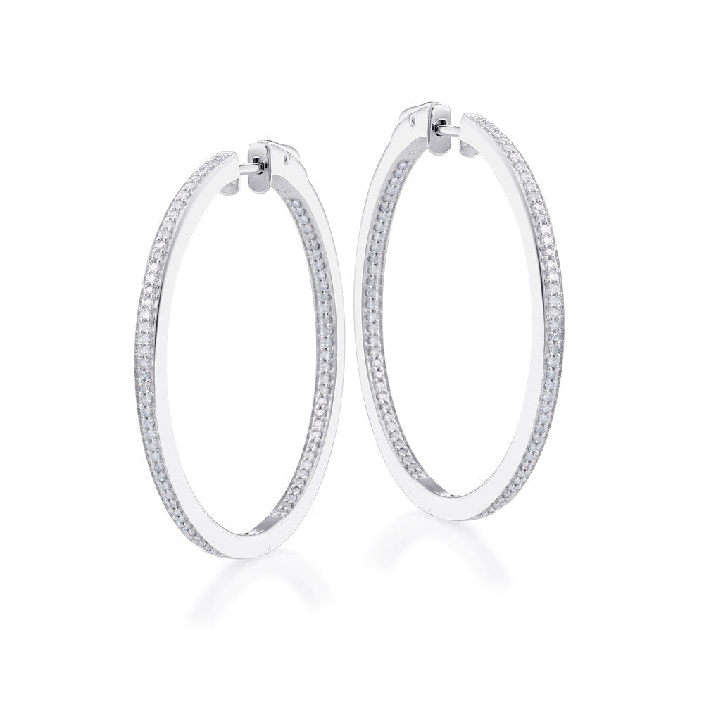 "Bling! Diamond Hoop Earring 1 1/2"" Diameter in Sterling Silver"
