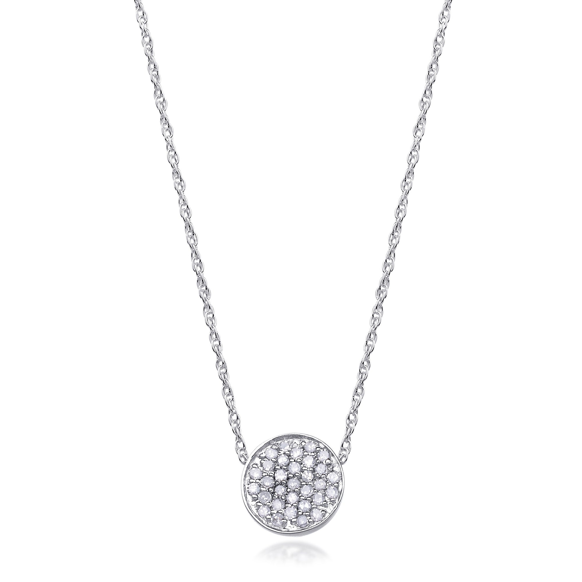 Bling diamond pave small disc pendant necklace in 14k white gold diamond pave disc pendant necklace in white gold aloadofball Image collections