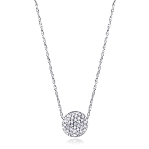 Bling! Diamond Pave Disc Pendant Necklace in White Gold