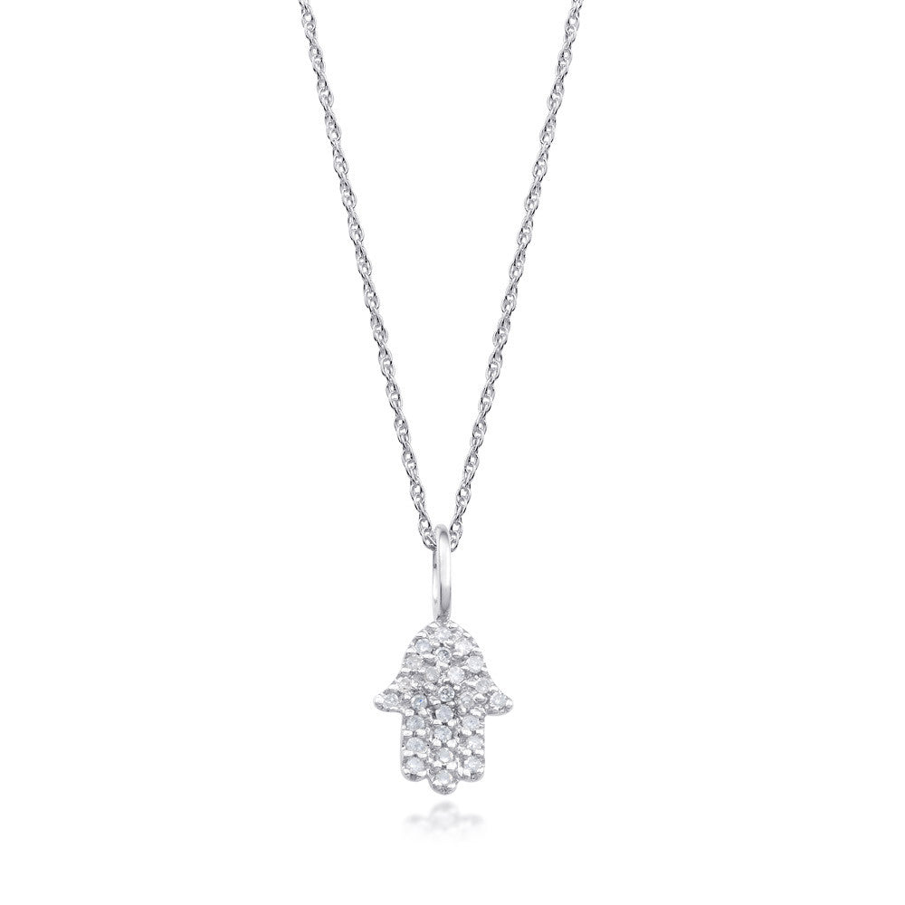 Bling! Small Pave Diamond Hamsa Pendant Necklace in White Gold