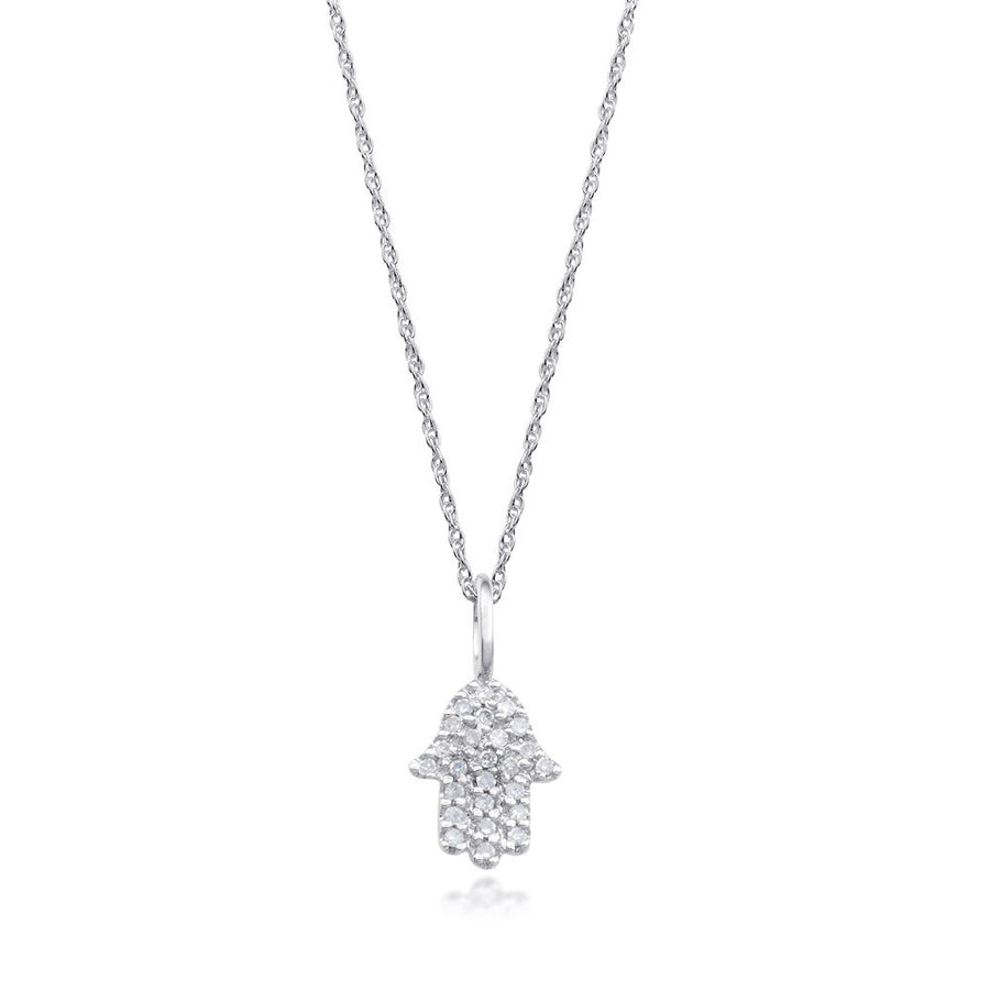 4aa334a9629128 Bling! Small Pave Diamond Hamsa Pendant Necklace in White Gold