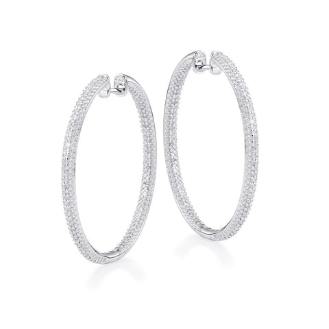 "Bling! Diamond Pave Hoop Earring 1 1/3"" Diameter in Sterling Silver"