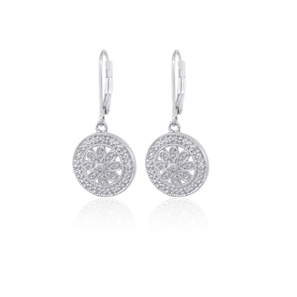 Bling! Diamond Filigree Round Dangle Earring in Sterling Silver