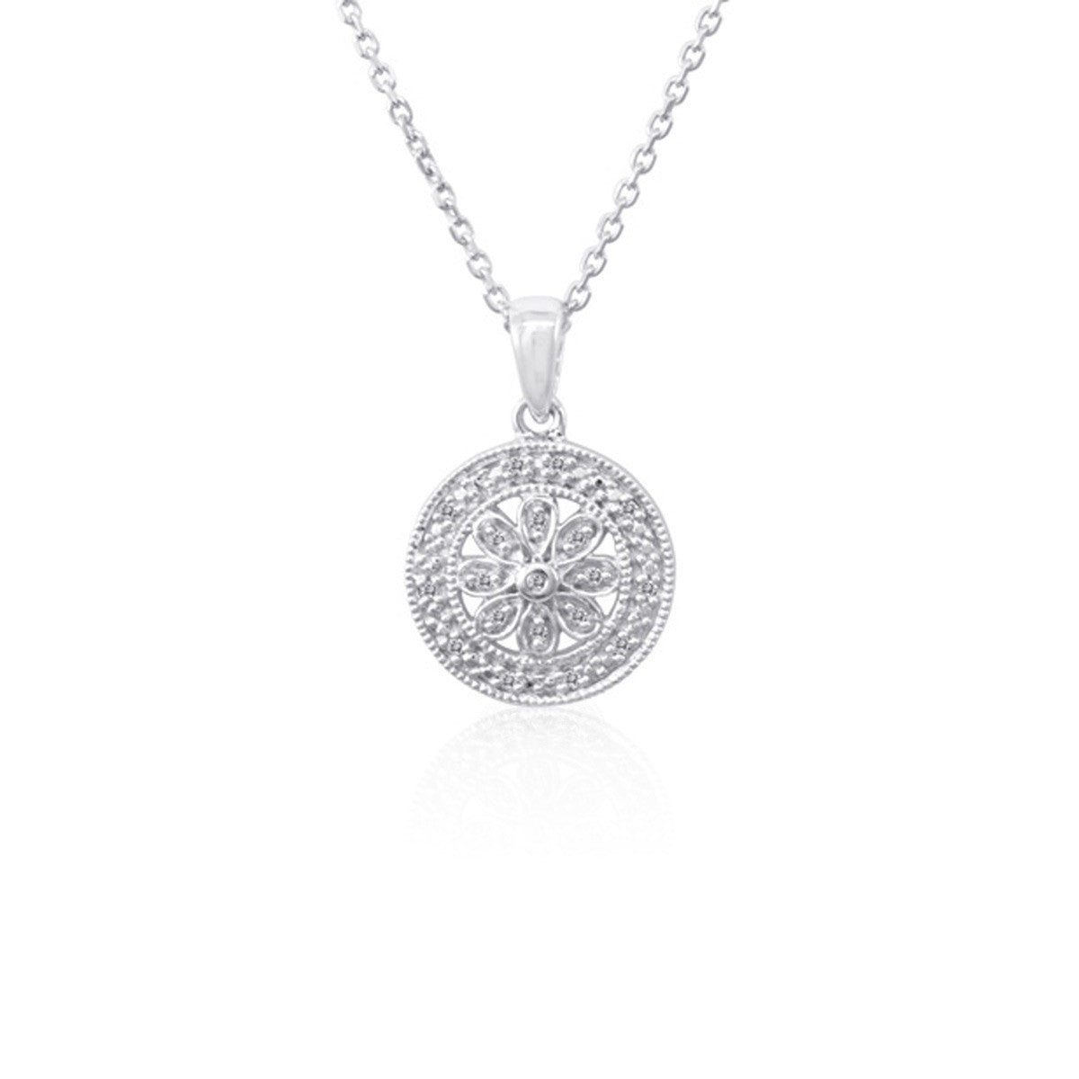 Bling round diamond filigree pendant at desires by mikolay diamond round filigree pendant necklace in sterling silver aloadofball Choice Image