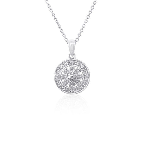 Bling! Diamond Round Filigree Pendant Necklace in Sterling Silver