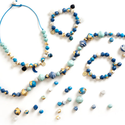 Akola 'Anasa' Blue Luxury DIY Necklace and Bracelet Kit