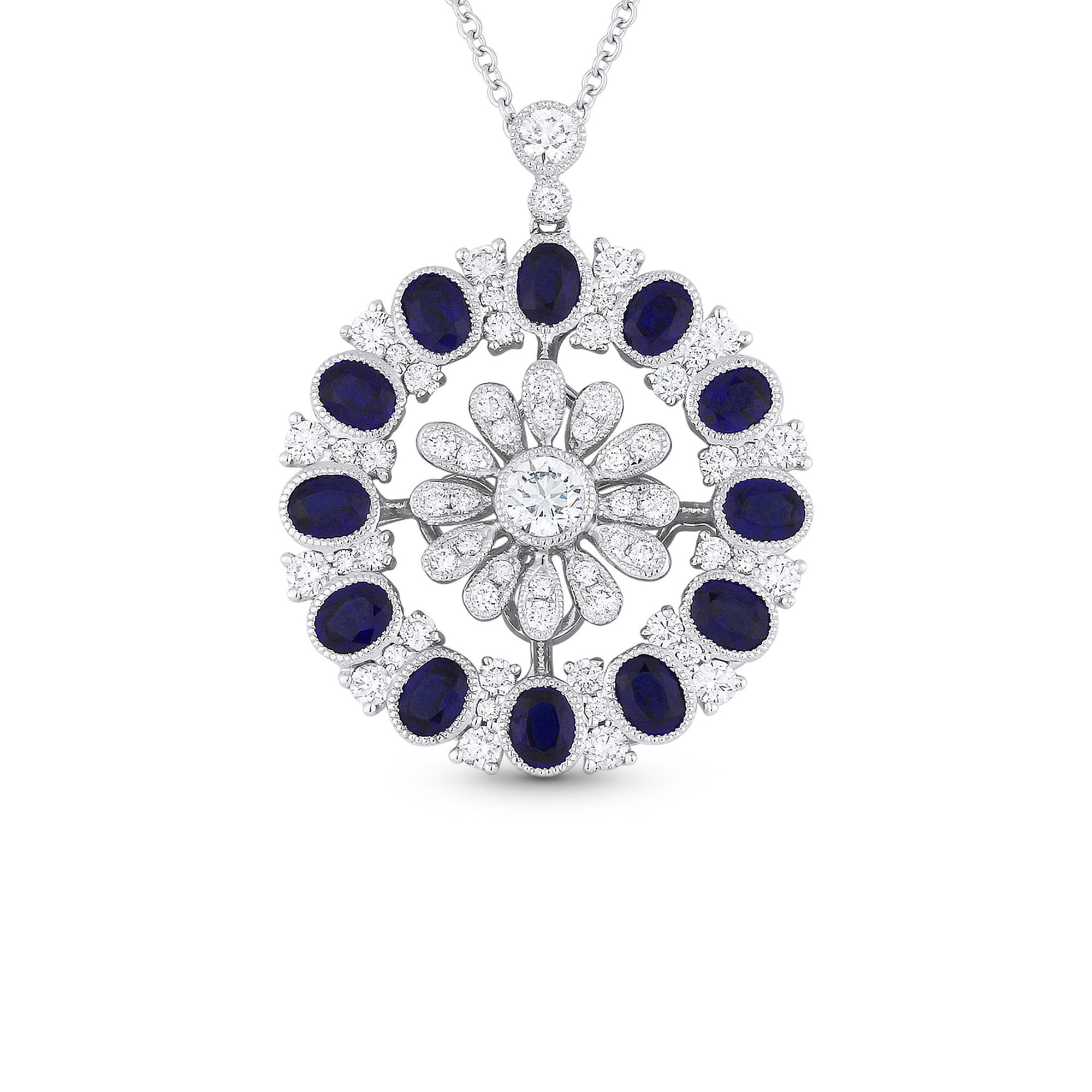 Round vintage style blue sapphire and diamond pendant necklace round vintage style blue sapphire and diamond pendant necklace aloadofball Image collections