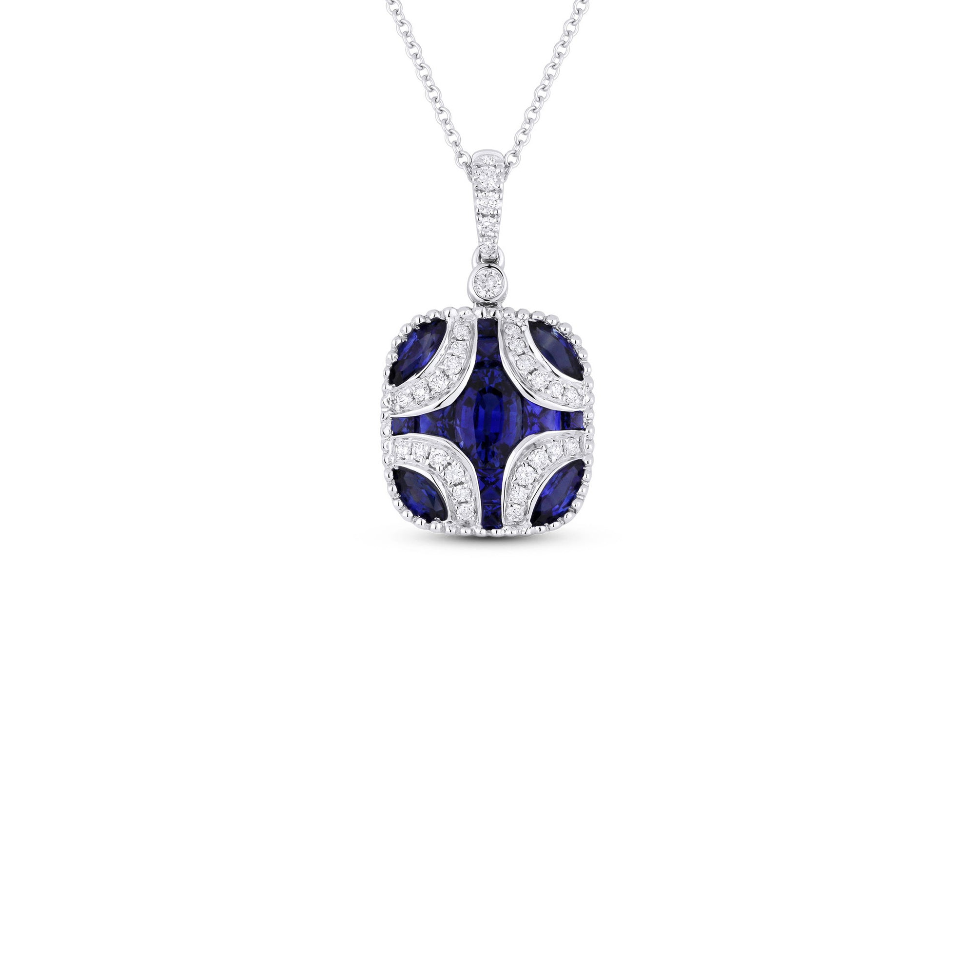 Deco inspired blue sapphire and diamond pendant necklace desires deco inspired blue sapphire and diamond pendant necklace aloadofball Gallery