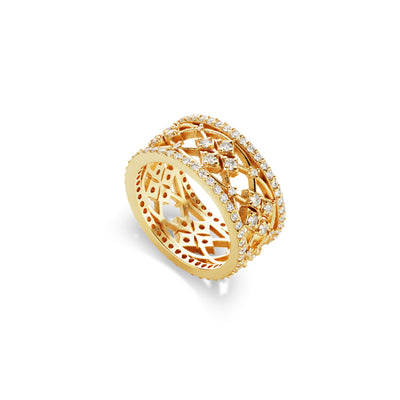 Celebration Diamond Filigree Band in 18k Yellow Gold