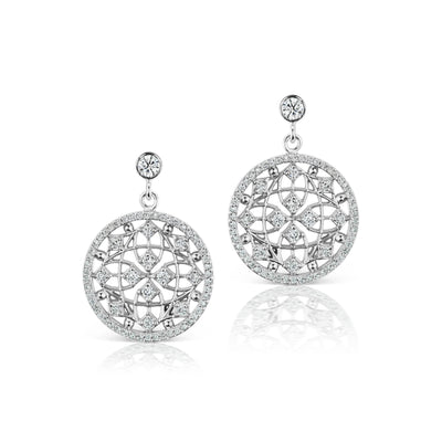 Round Diamond Filigree Celebration Earrings in 18k White Gold